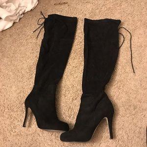 Black over the knee heels 8.5